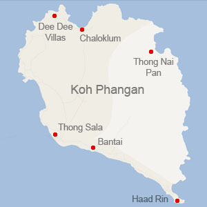 Map of Koh Phangan showing DeeDee Villa Retreat