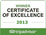 Tripadvisor Certificate of execellence 2013