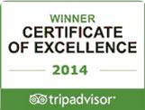 Tripadvisor Certificate of execellence 2014